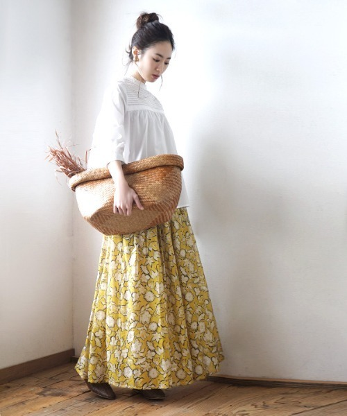 花柄シフォン マキシフレアスカート