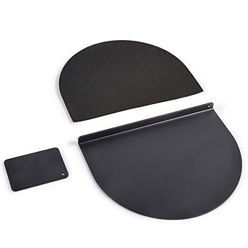 モニターアーム 補強プレート 取付部硬さ強化対策 デスク保護 天板補強 ぐらつき防止 傷防止 滑り止めシート付き 説明書付き (ブラック)