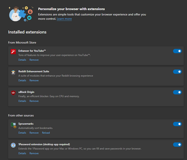 Personalize your browser with Extentions