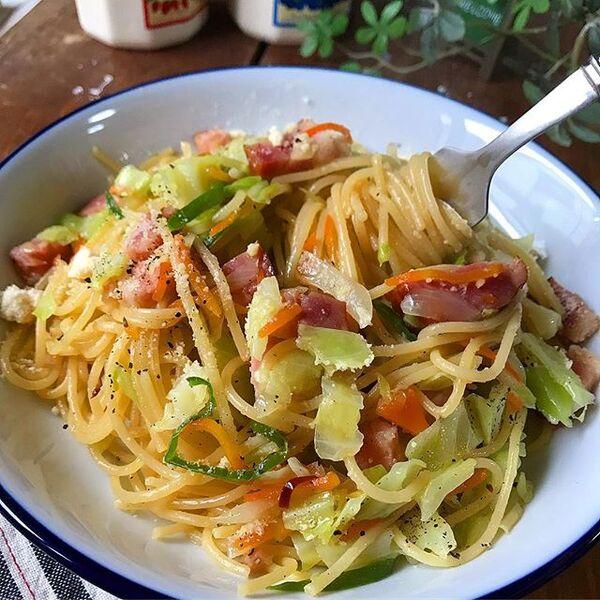 人気の具!野菜たっぷり和風ペペロンチーノ