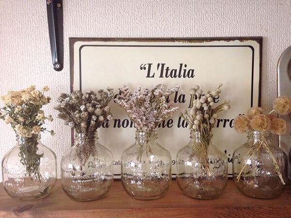 空き瓶に花瓶としてリメイク