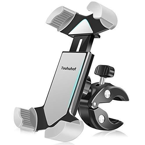 【2021最新年度版】自転車スマホ ホルダー オートバイホルダー GPSナビマウント 携帯 固定用 振れ止め 脱落防止 360度回転 角度調整 片手操作 脱着簡単 重撃吸収 優れた耐久性 強力な保護iphone/Samsung/ Sony /HUWEI 4.5-7インチス 多機種対応 10年間交換保証