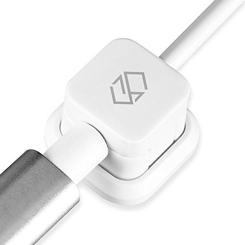 Sinjimoru ケーブルホルダー、iphone type c USBケーブル マグネット収納ボックス 車内 ケーブル 固定 収納 クリップ コード まとめる 整理 クリップ。Magnetic Cable Holder、White 1pc