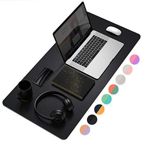 YSAGiデスクマット 防水PUレザーラップトップマット 薄型リバーシブルマット オフィス及び自宅用デスクブロッター パソコンマウスパッド 机マット (黒, 80*40cm)