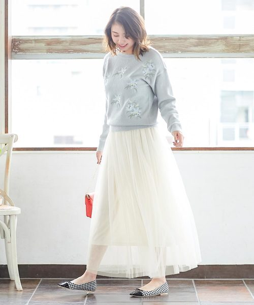 [kobelettuce] ウエストゴムマキシ丈ロングチュールフレアスカート