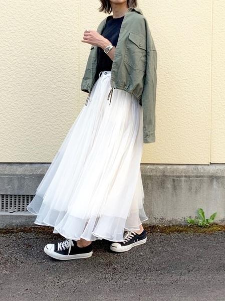 [Auntie Rosa] 【LA BELLE ETUDE】【Belle vintage】デニムドッキングボリュームチュール×オーガンジースカート