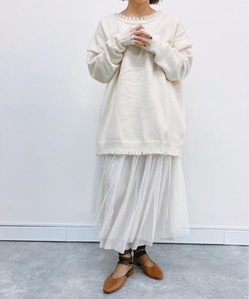 [Bonjour Sagan] チュールxシャイニーサテンリバーフレアスカート【ZOZO限定アイテム】