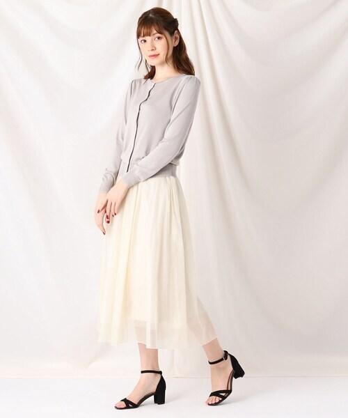 [Couture brooch] オーガンジーチュールミモレスカート