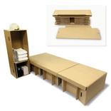 パッと見は廃ダンボール、でも実は1分で組み立てられるダンボール製ベッド。避難所用アイテムのアイデアがすごい