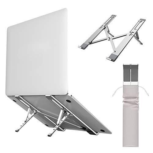 LiANGSTAR ノートパソコンスタンド pcスタンド 折り畳み式 アルミ製 収納簡単 超軽量215g 5段階調整可能 収納袋付き シルバー
