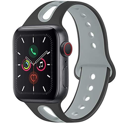 Meliya コンパチブル Apple Watch バンド アップルウォッチ バンド 新デザイン スポーツバンド 交換バンド 柔らかい シリコン素材 apple watch series 5/4/3/2/1に対応 (42mm/44mm M/L, 黒/灰)