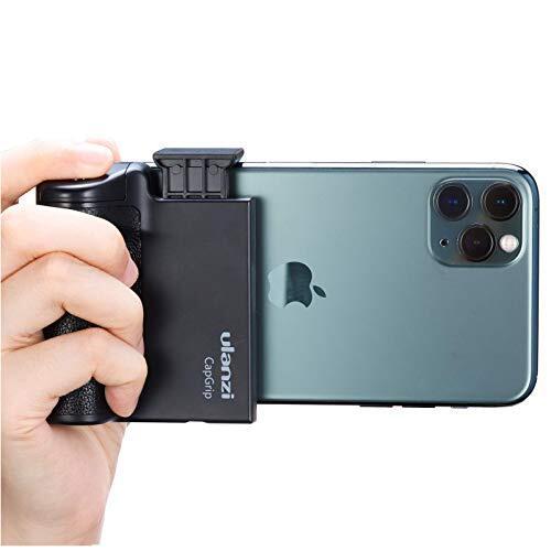 ULANZI Bluetoothスマートフォンホルダー ラバーハンドルグリップ ワイヤレスリモコン付き 取付可能 旅行 写真 動画を撮る 1/4インチネジ 一脚/三脚/自撮り棒/iPhone/Androidなどに対応