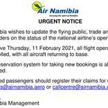 エア・ナミビア、運航停止 清算へ