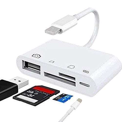 GX 4in1 Lightning - SDカードカメラリーダー Micro SDカード/USB USBポート付き マルチカードリーダー ライトニング SD カード カメラ リーダー SDカードリーダー カメラ ビデオ 充電 写真 4in1 iPhone iPad SD/SDHC/SDXC/micro SD/micro SDXC iOS 9.1 以降に対応 日本語説明書付き 品質&安心保証付き