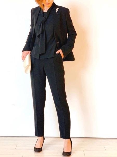 [form forma] ノーカラージャケット ブラックフォーマルセットアップパンツスーツ(3点セット)