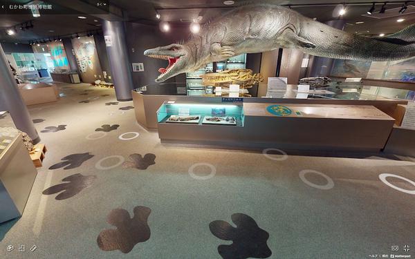 むかわ町穂別博物館の床面には恐竜の足跡が (ホームページより引用)