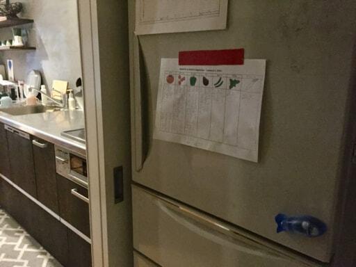 表面に思い切りいろいろ貼った冷蔵庫