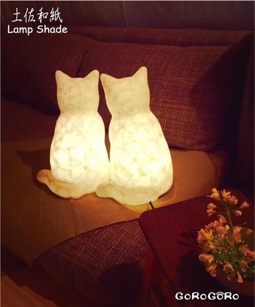 和紙猫のランプ/ライト/ハンドメイド/ネコ雑貨(受注製作)お座り