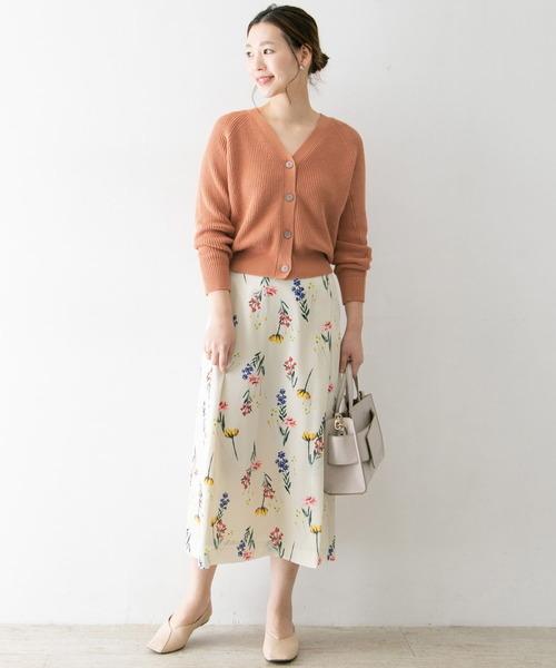 コクーンカーディガン×花柄スカート