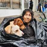 愛犬と一緒に大きなゴミ袋に入る女性 その姿に胸が締め付けられる