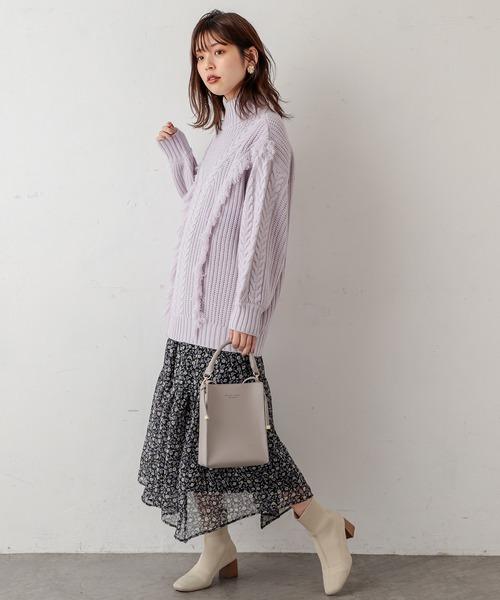 [natural couture] フリンジ付きハイネックニットプルオーバー