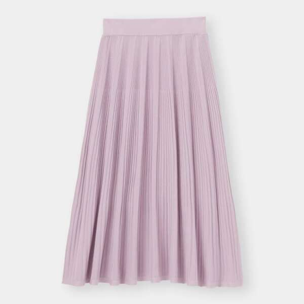 くすみパープルのリブニットフレアスカート