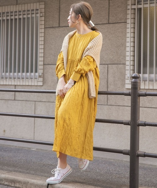 [ITEMS URBAN RESEARCH] ワッシャー切替ギャザーワンピース
