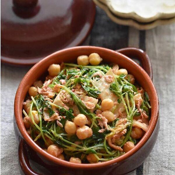 圧力鍋で煮たひよこ豆で豆苗のツナキムチ