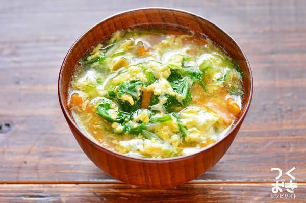 人気レシピ!水菜と卵のとろみ汁