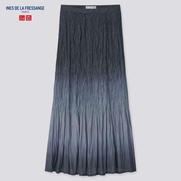 黒のグラデーションカラーのツイストプリーツスカート