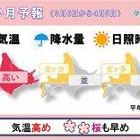 北海道の1か月予報と桜開花予想 気温は高め 桜の開花も早く