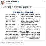 立憲民主党・福山哲郎幹事長「今日の予算委員会で用意した資料です」自民党議員の不祥事事案を列挙した表をツイートし反響