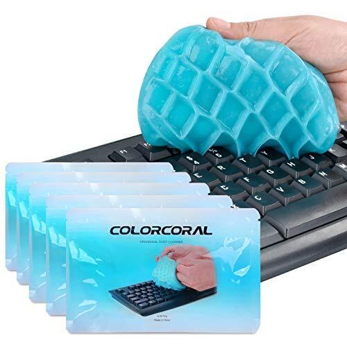 ColorCoral 粘着クリーナー キーボード 掃除 車内設備 隙間 汚れ ホコリ取り スライム クリーナー 強力粘着 繰り返し 多用途 柔らかい 70g*5 藍