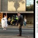 真っ白なウエディングドレス姿で交通整理を行う花嫁 「警官になるというのはこういう事」(米)