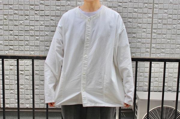 「太番手洗いざらしオックスリバーシブルシャツ XXS~XS・オフ白」表