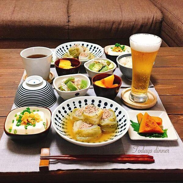 ロール白菜、肉、おかず、和食。