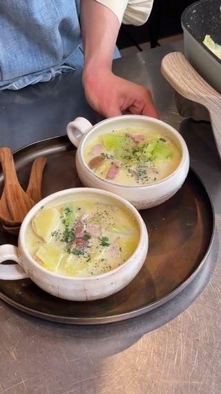 春キャベツの豆乳スープ
