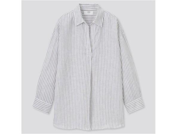ユニクロ プレミアムリネンスキッパーストライプシャツ 2990円(税込)