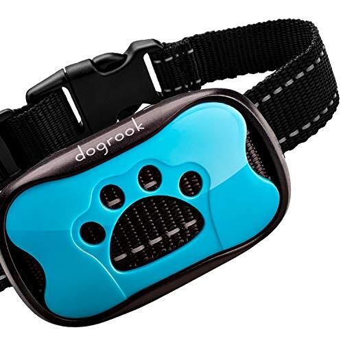 Dogrook デュアルモーター無駄吠えしつけ首輪-充電式で繰り返し使用可能、犬に優しい、優しい刺激の無駄吠え防止首輪-2種類の振動とビープ音付き-小型犬や中型犬、大型犬に調整可能-自動訓練-リモコン不要