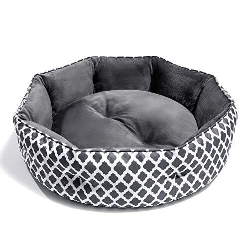 Joyo洗えるペットベッド 猫 ベッド ふわふわねこソファ 滑り止めペットクッション 猫用/小型犬用 寒さ対策 通年タイプ ぐっすり眠る もこもこベッド グレー