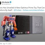 ハズブロが自動でトランスフォームするオプティマスプライムのロボットを発表