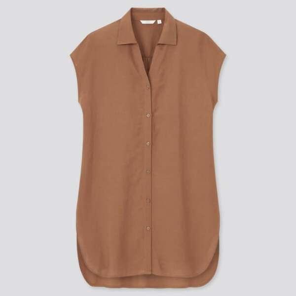 ユニクロのリネンブレンドロングシャツ(半袖)のブラウン