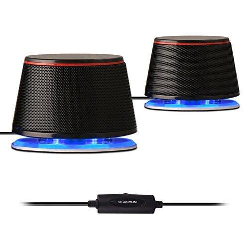 Sanyun SW102 PCスピーカー 5Wx2 高音質 重低音 大音量 パワフル出力 3.5㎜入力対応 USB充電式 iPhone Android対応可 ブラック
