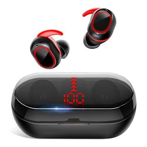 【最先端Bluetooth5.1&瞬時接続】 Bluetooth イヤホン 自動ペアリング HiFi高音質 完全 ワイヤレス イヤホン CVC8.0イズキャンセリング LEDディスプレイ電量表示 ブルートゥース イヤホン IPX7防水 左右分離型 音量調節 マイク内蔵 両耳通話 技適認証済 iPhone/ipad/Android対応 PZX (レッド)