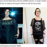 大好きなヘビメタで110キロ超から64キロまで大減量した女性 「お腹の皮は努力の証」(英)