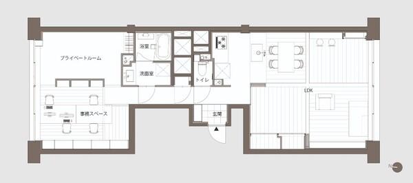 東京都文京区湯島に住む建築家夫婦の1LDKリノベーションマンションの間取り図