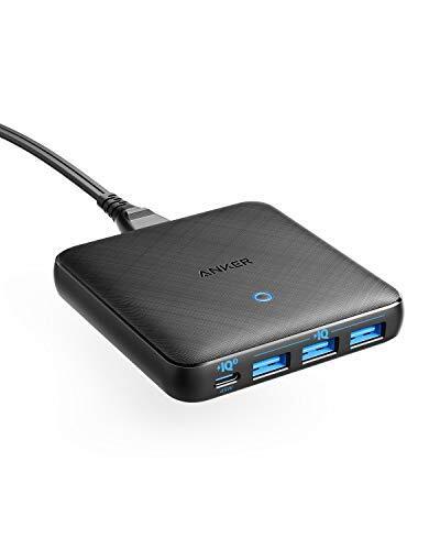 Anker PowerPort Atom III Slim (Four Ports)(PD 充電器 65W 4ポート USB-C)【PowerIQ3.0搭載 / PD対応/GaN(窒素ガリウム)採用】 iPhone iPad iPod 各種、 MacBook Air、その他USB-C機器対応 (ブラック)
