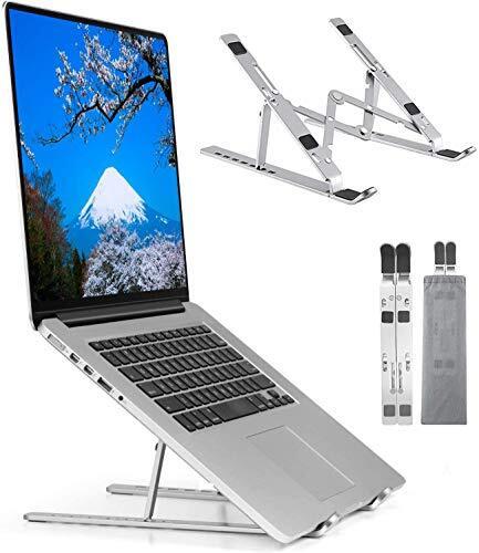 ノートパソコン スタンド 折りたたみ式【令和新版】ラップトップスタンド PCスタンド iPadスタンド 7段の高さ調節可能 【 収納袋付き】(Silver)
