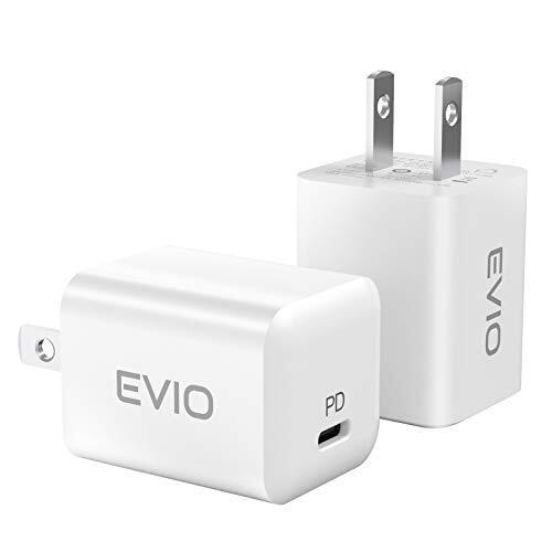 【2個セット】 EVIO PD 充電器 20W USB-C 超小型急速充電器 Type C 急速充電器 【PSE認証済】 ACアダプター iPhone 12 / 12 Pro /12 Mini/ 11/11 Pro /11 Pro Max iPhoneXS/XS Max/XR/iPad Air/その他 各種機器対応