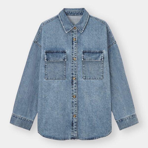 GUのデニムダブルポケットオーバーサイズシャツの写真